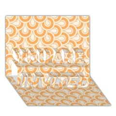 Retro Mirror Pattern Peach YOU ARE INVITED 3D Greeting Card (7x5)