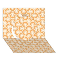 Retro Mirror Pattern Peach Circle 3D Greeting Card (7x5)