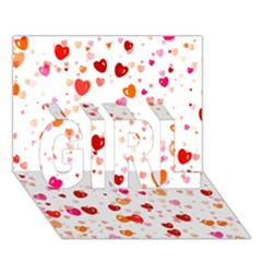 Heart 2014 0603 GIRL 3D Greeting Card (7x5)