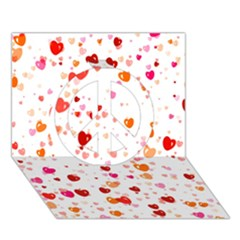 Heart 2014 0603 Peace Sign 3d Greeting Card (7x5)