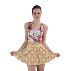 Retro Mirror Pattern Peach Mini Skirts