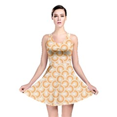 Retro Mirror Pattern Peach Reversible Skater Dresses