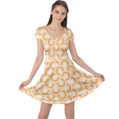 Retro Mirror Pattern Peach Cap Sleeve Dresses