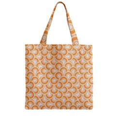 Retro Mirror Pattern Peach Zipper Grocery Tote Bags