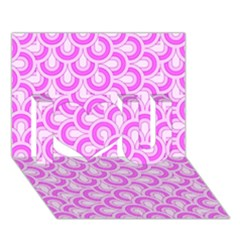 Retro Mirror Pattern Pink I Love You 3D Greeting Card (7x5)