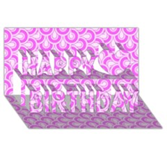Retro Mirror Pattern Pink Happy Birthday 3d Greeting Card (8x4)