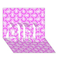 Retro Mirror Pattern Pink Girl 3d Greeting Card (7x5)