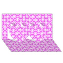Retro Mirror Pattern Pink Twin Hearts 3d Greeting Card (8x4)