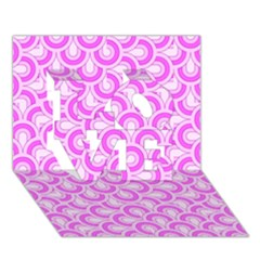 Retro Mirror Pattern Pink LOVE 3D Greeting Card (7x5)