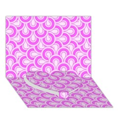 Retro Mirror Pattern Pink Heart Bottom 3D Greeting Card (7x5)