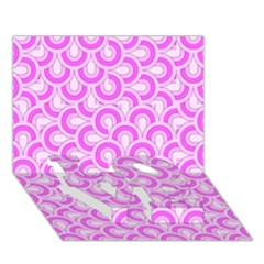 Retro Mirror Pattern Pink Love Bottom 3d Greeting Card (7x5)