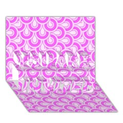 Retro Mirror Pattern Pink YOU ARE INVITED 3D Greeting Card (7x5)