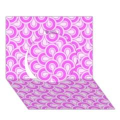 Retro Mirror Pattern Pink Circle 3D Greeting Card (7x5)