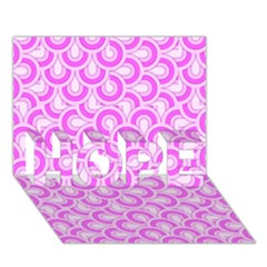 Retro Mirror Pattern Pink Hope 3d Greeting Card (7x5)