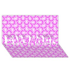 Retro Mirror Pattern Pink ENGAGED 3D Greeting Card (8x4)