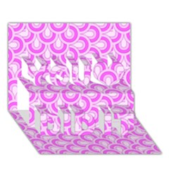Retro Mirror Pattern Pink You Did It 3D Greeting Card (7x5)