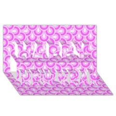 Retro Mirror Pattern Pink Happy New Year 3D Greeting Card (8x4)