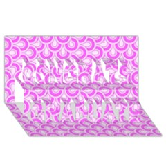 Retro Mirror Pattern Pink Congrats Graduate 3d Greeting Card (8x4)