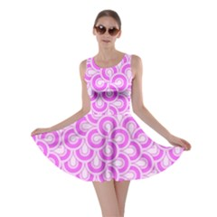 Retro Mirror Pattern Pink Skater Dresses
