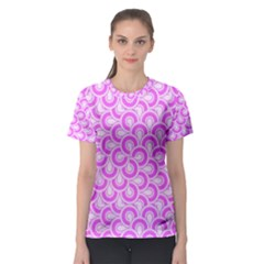 Retro Mirror Pattern Pink Women s Sport Mesh Tees