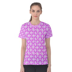 Retro Mirror Pattern Pink Women s Cotton Tees