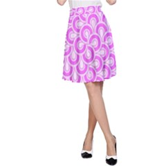 Retro Mirror Pattern Pink A-Line Skirts