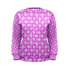 Retro Mirror Pattern Pink Women s Sweatshirts