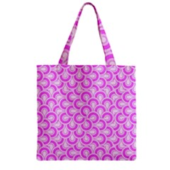 Retro Mirror Pattern Pink Zipper Grocery Tote Bags