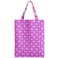 Retro Mirror Pattern Pink Zipper Classic Tote Bags