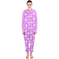 Retro Mirror Pattern Pink Hooded Jumpsuit (Ladies)