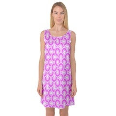 Retro Mirror Pattern Pink Sleeveless Satin Nightdresses