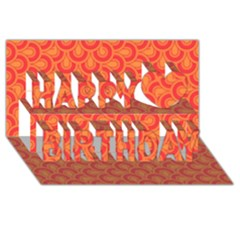 Retro Mirror Pattern Red Happy Birthday 3d Greeting Card (8x4)