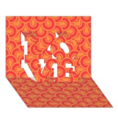 Retro Mirror Pattern Red LOVE 3D Greeting Card (7x5)