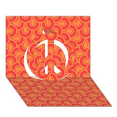 Retro Mirror Pattern Red Peace Sign 3D Greeting Card (7x5)