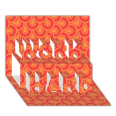 Retro Mirror Pattern Red WORK HARD 3D Greeting Card (7x5)