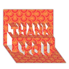 Retro Mirror Pattern Red THANK YOU 3D Greeting Card (7x5)
