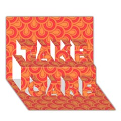 Retro Mirror Pattern Red TAKE CARE 3D Greeting Card (7x5)