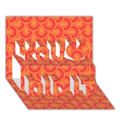 Retro Mirror Pattern Red You Did It 3d Greeting Card (7x5)