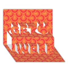 Retro Mirror Pattern Red Get Well 3d Greeting Card (7x5)