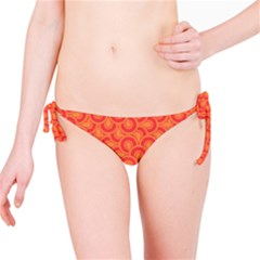 Retro Mirror Pattern Red Bikini Bottoms