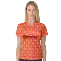Retro Mirror Pattern Red Women s V-Neck Sport Mesh Tee