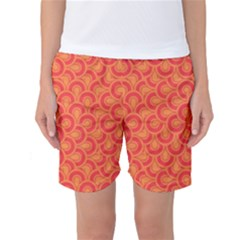 Retro Mirror Pattern Red Women s Basketball Shorts