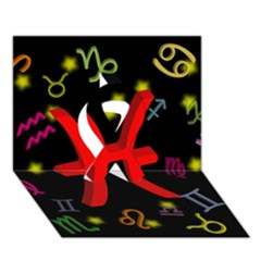 Pisces Floating Zodiac Sign Ribbon 3D Greeting Card (7x5)