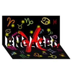 Pisces Floating Zodiac Sign ENGAGED 3D Greeting Card (8x4)