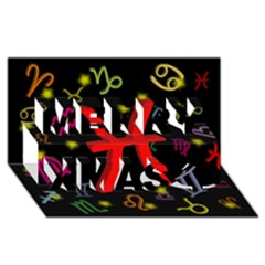Pisces Floating Zodiac Sign Merry Xmas 3D Greeting Card (8x4)