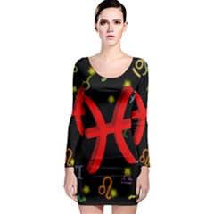 Pisces Floating Zodiac Sign Long Sleeve Bodycon Dresses