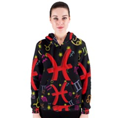 Pisces Floating Zodiac Sign Women s Zipper Hoodies