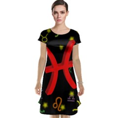 Pisces Floating Zodiac Sign Cap Sleeve Nightdresses