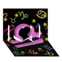 Libra Floating Zodiac Sign I Love You 3D Greeting Card (7x5)