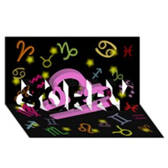 Libra Floating Zodiac Sign SORRY 3D Greeting Card (8x4)